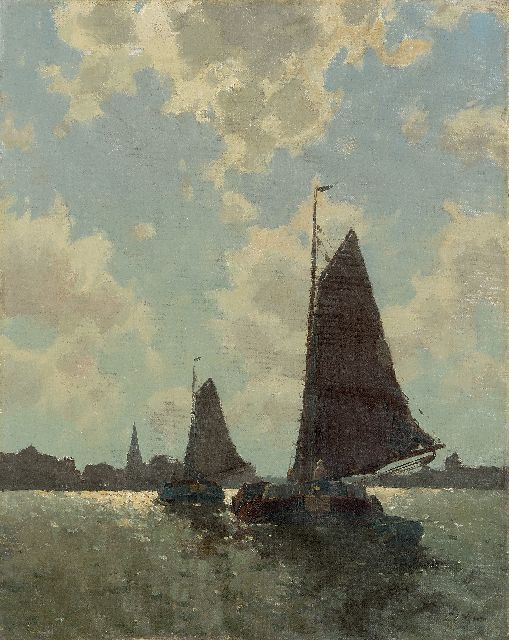 Egnatius Ydema | Two barges in backlight near Eernewoude, oil on canvas, 50.5 x 40.3 cm, signed l.r.