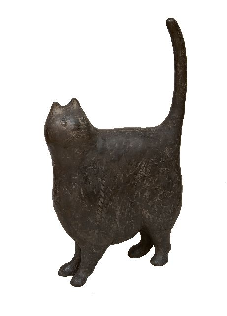 Evert van Hemert | The Household Cat, patinated bronze, 60.0 cm, signed with monogram under the tail and executed in 2017