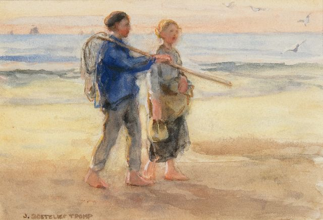 Jan Zoetelief Tromp | Returning from fishing, watercolour on paper, 18.6 x 26.3 cm, signed l.l.