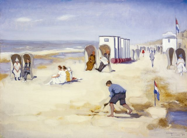 Roeland Koning | Figures on the beach, oil on canvas, 48.3 x 64.0 cm, signed l.r. and dated '24