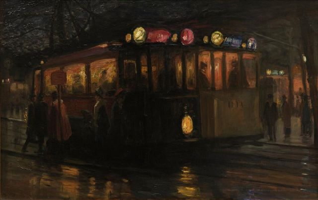 Marius Richters | Streetcars near the Beursplein, Rotterdam, oil on canvas, 70.0 x 110.2 cm, signed l.l. and painted ca. 1913