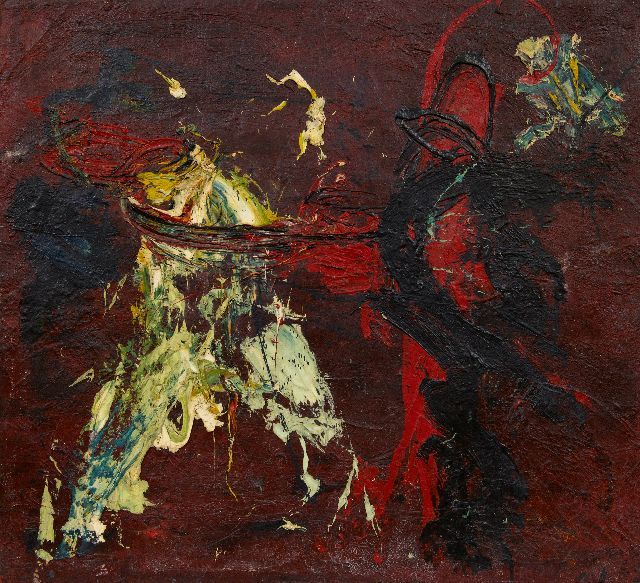 Bohemen C.B. van | Composition, oil on burlap 77.4 x 85.5 cm, painted ca. 1959
