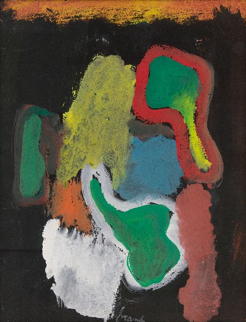 Eugène Brands | Composition against a black background, gouache on paper, 38.0 x 30.0 cm, signed l.c. and dated on the reverse 1.8.1968