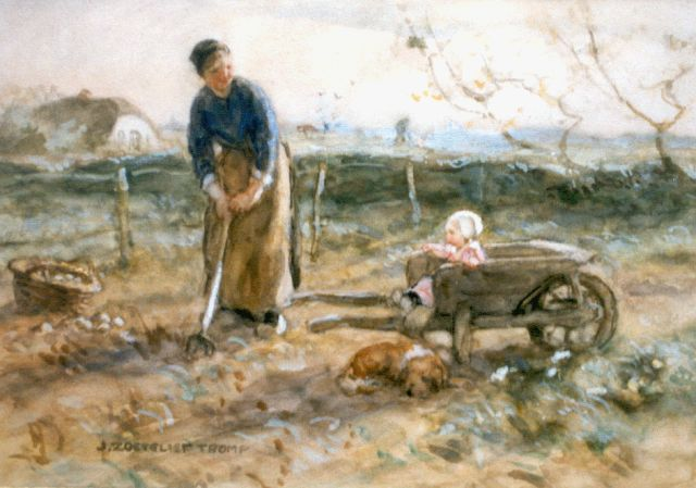 Jan Zoetelief Tromp | Digging up potatoes, watercolour on paper, 27.0 x 37.5 cm, signed l.l.