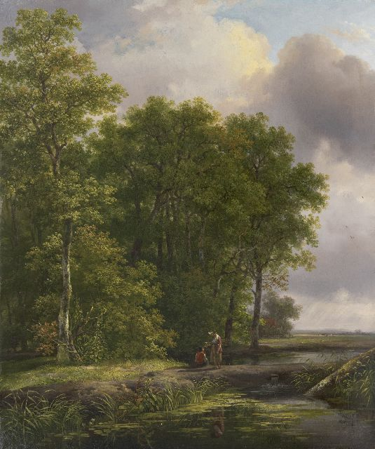 Andreas Schelfhout | Landfolk on a wooded path, oil on panel, 40.8 x 34.2 cm, signed l.l. with initials