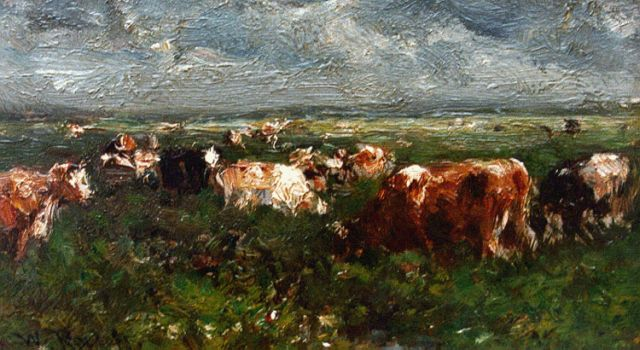 Roelofs W.  | A landscape with cows grazing, oil on panel, 7.5 x 12.4 cm, signed l.l.