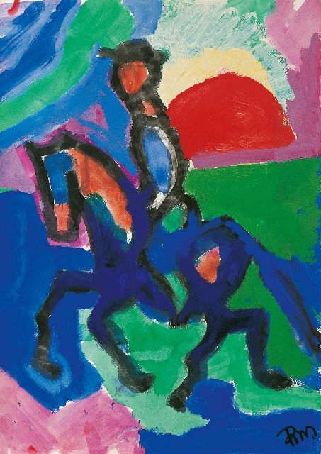 Gerrit Benner | Horseman, gouache on paper, 70.0 x 50.0 cm, signed l.r. and on the reverse and dated circa 1957