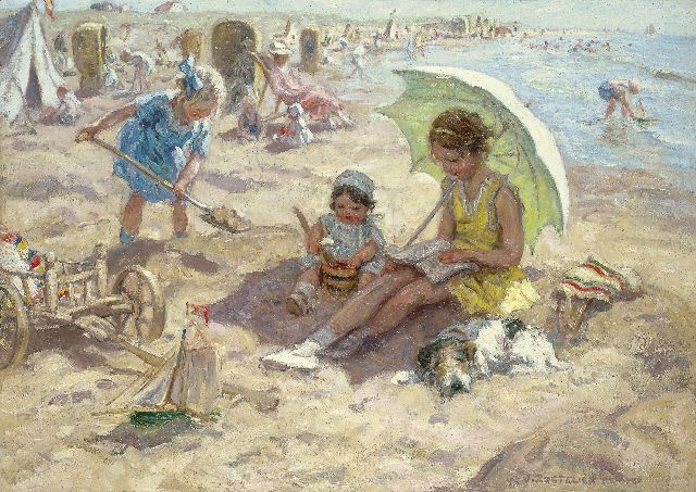 Zoetelief Tromp J.  | Children playing on the beach of Katwijk, oil on canvas 68.3 x 95.9 cm, signed l.r. and on the reverse