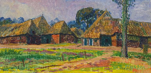 Johan Dijkstra | Farmhouses in Orvelte, benzinerel and wax paint on canvas, 40.2 x 80.0 cm, signed l.l. and painted 1930-1933