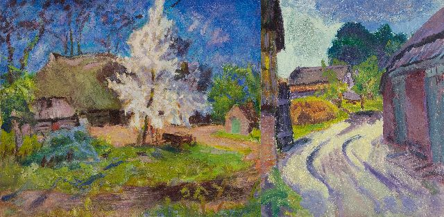 Altink J.  | Landscape in Essen, Groningen; on the reverse: Country road in Essen, oil on canvas 60.5 x 70.8 cm, signed on the stretcher and painted ca. 1930