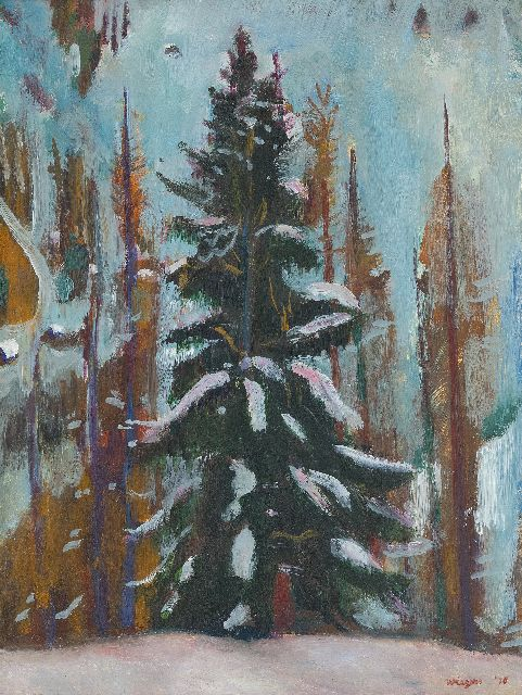 Jan Wiegers | Fir, Frauenkirch (Davos), oil on panel, 39.9 x 30.3 cm, signed l.r. and dated '36