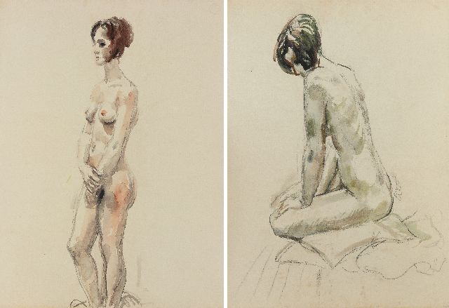 Johan Dijkstra | Standing nude, black chalk and watercolour on paper, 62.7 x 46.6 cm