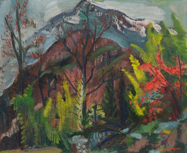 Jan Wiegers | Garden in Ticino, wax paint on canvas, 50.6 x 61.7 cm, signed l.r. and painted ca. 1947-1950