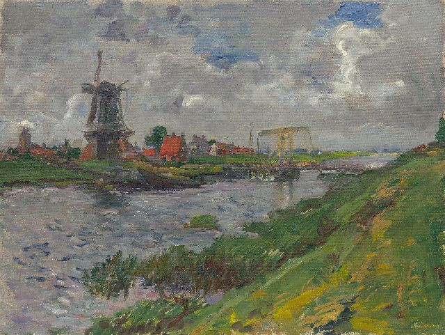 Johan Dijkstra | A view of Garnwerd at the river Reitdiep, oil on canvas, 70.8 x 94.3 cm, signed l.r.