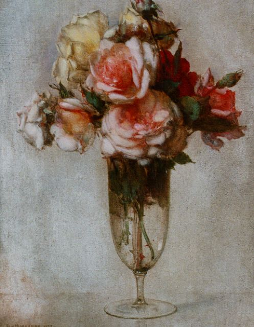 Jan Bogaerts | A still life with roses in a glass vase, oil on canvas, 40.0 x 30.2 cm, signed l.l. and dated 1927