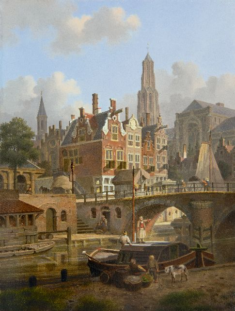 Verheijen J.H.  | A capriccio of the Oudegracht and the Domchurch in Utrecht, oil on panel, 31.7 x 24.2 cm, signed l.l.