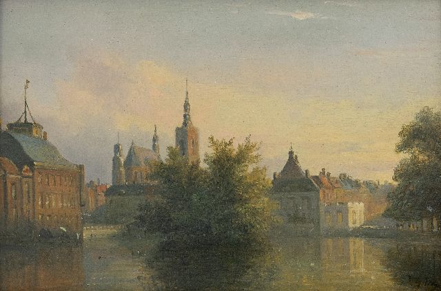 Willem George Wagner | A view of the 'Hofvijver', The Hague, oil on panel, 13.1 x 18.7 cm, signed l.r.