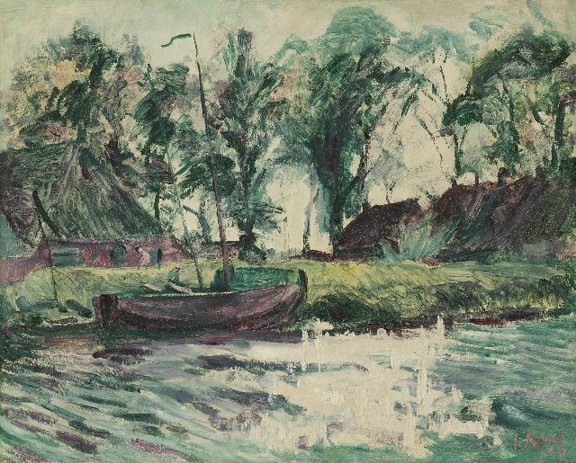 Altink J.  | A moored sailing ship near farmhouses, wax paint on canvas 43.0 x 54.4 cm, signed l.r. and dated '29