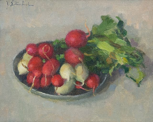 Joop Stierhout | Red and white radishes on a plate, oil on canvas, 20.1 x 25.3 cm, signed u.l.