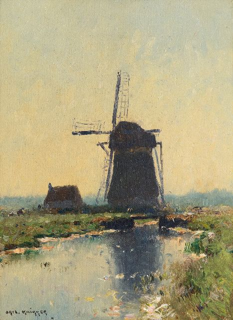 Knikker A.  | Polderlandscape with mill, oil on canvas 24.2 x 18.3 cm, signed l.l.