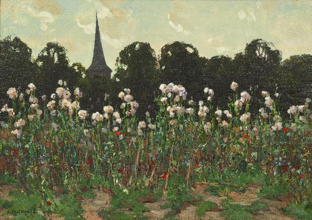 Paul Bodifée | A field of faded thistles near a church, oil on canvas laid down on board, 33.1 x 46.5 cm, signed l.l.