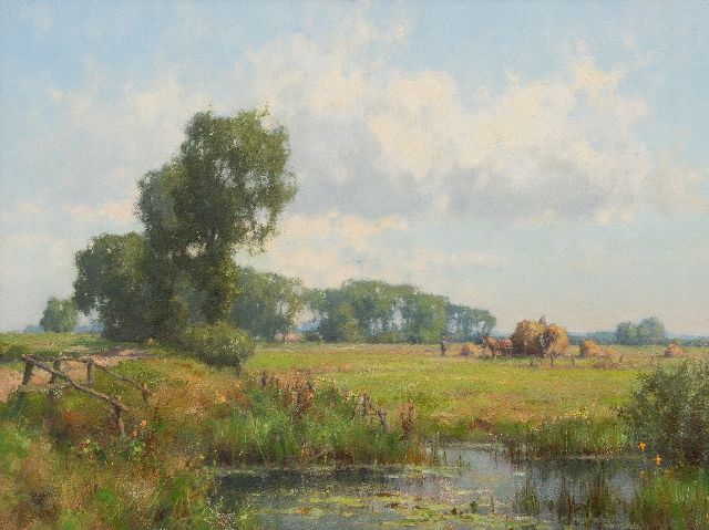 Jan Holtrup | Hay harvest in the Gelderse Waard, oil on canvas, 45.0 x 60.1 cm, signed l.l.