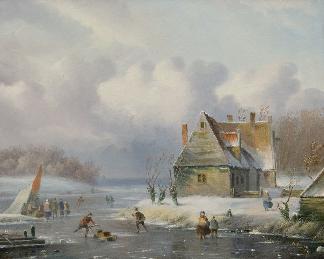 Carl Eduard Ahrendts | A winter landscape with skaters, oil on panel, 28.7 x 35.1 cm, signed l.l.