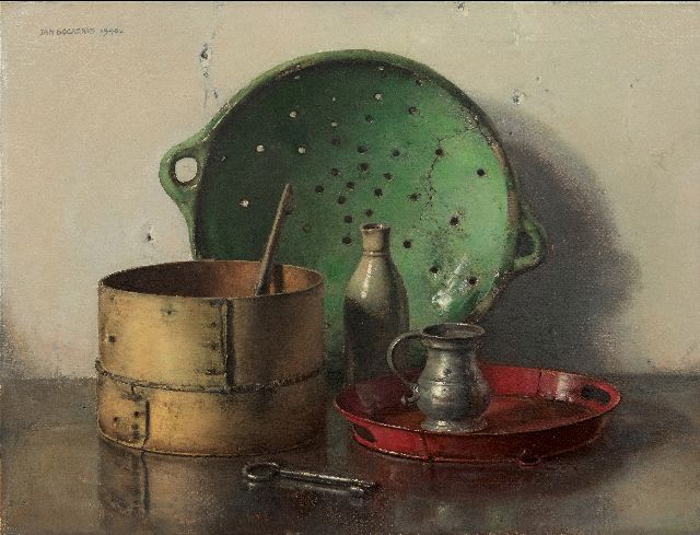 Jan Bogaerts | Still life with a green strainer, oil on canvas, 50.2 x 66.1 cm, signed u.l. and dated 1948