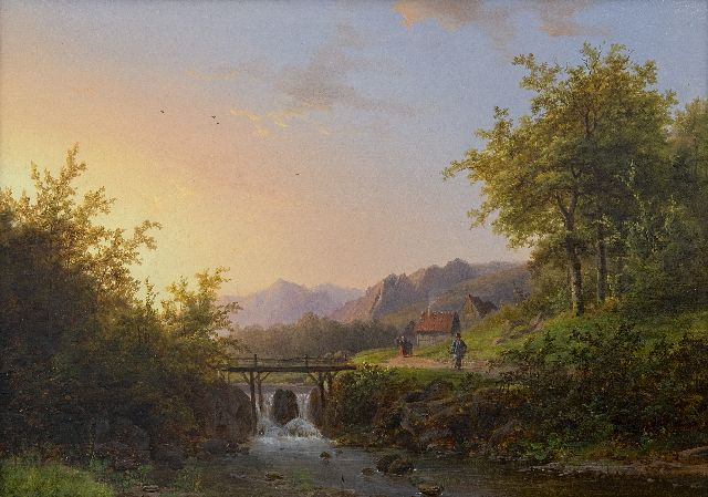 Klombeck J.B.  | Summer landscape with a stream, oil on panel 29.7 x 41.1 cm, signed l.r. and dated 1847