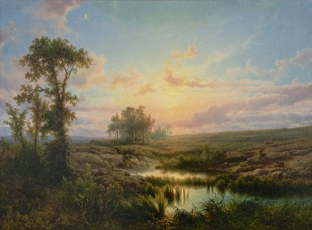 Cornelis Lieste | Sunny heath landscape, oil on panel, 58.1 x 79.9 cm, signed l.l. and painted ca. 1855
