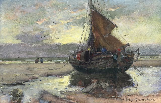Munthe G.A.L.  | Fishing vessel on the beach, watercolour and gouache on paper 32.3 x 49.5 cm, signed l.r. and dated 1912