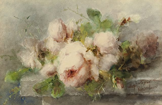 Roosenboom M.C.J.W.H.  | Pink roses on a stone ledge, watercolour and gouache on paper 35.1 x 53.3 cm, signed l.r.