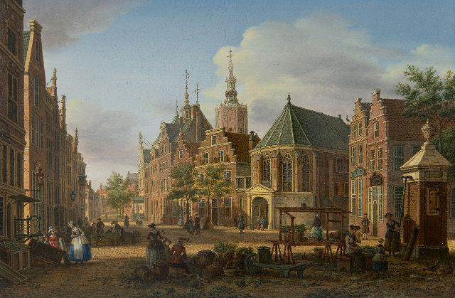 Paulus Constantijn la Fargue | A view of the Groenmarkt, The Hague, oil on panel, 22.7 x 34.5 cm, signed l.r. and painted ca. 1770
