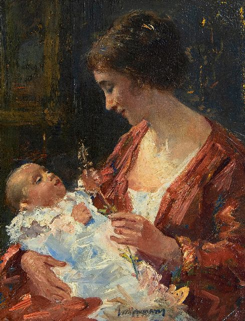 Simon Willem Maris | Mother and child, oil on canvas, 29.0 x 22.5 cm, signed l.c.