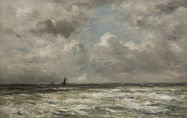 Hendrik Willem Mesdag | The North Sea with fishing boats in the distance, oil on panel, 69.7 x 109.0 cm, signed l.r.