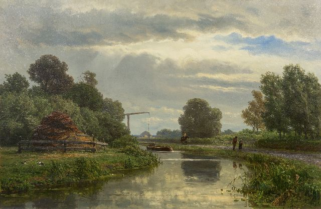 Jan Willem van Borselen | Towers in a Dutch polder landscape, oil on canvas, 65.3 x 100.2 cm, signed l.r. and dated 1872
