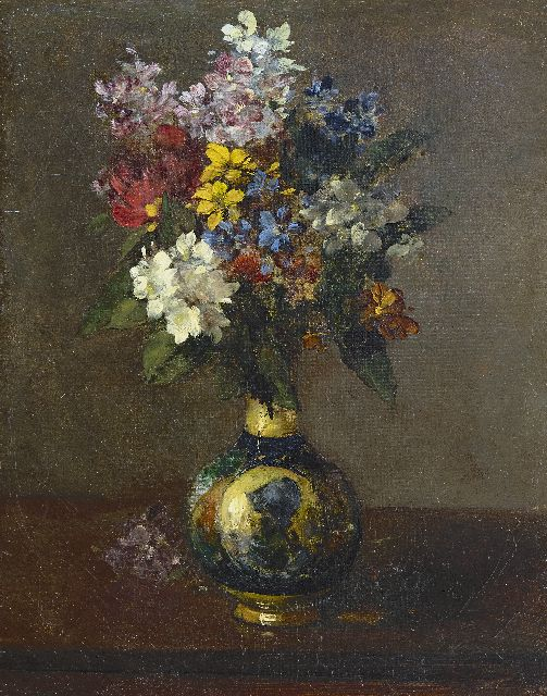 Antoine Vollon | Flowers in a vase, oil on canvas, 41.4 x 32.0 cm, signed l.r.