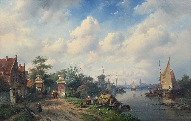 Charles Leickert | Sunny river scene with tollgate, oil on panel, 65.4 x 103.0 cm, signed l.r. and dated '53