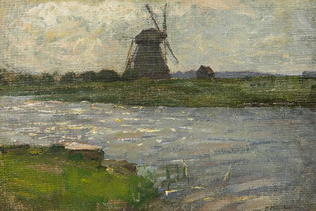 Mondriaan P.C.  | The Oostzijdse Mill at the Gein, viewed from the Landzicht farmhouse, oil on canvas 27.5 x 40.5 cm, signed l.r. and painted ca. 1902-1903