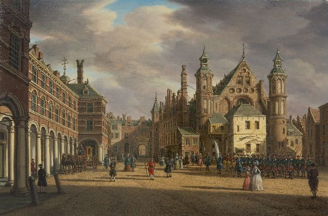 Paulus Constantijn la Fargue | A view of the Binnenhof and the Ridderzaal, The Hague, oil on panel, 22.7 x 34.8 cm, signed l.r. and painted ca. 1770
