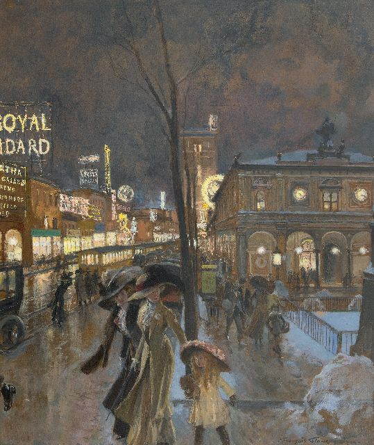 François Flameng | A winter evening in a crowded Herald Square at the New York Herald Building, oil on board, 62.4 x 52.4 cm, signed l.r. and dated 1909