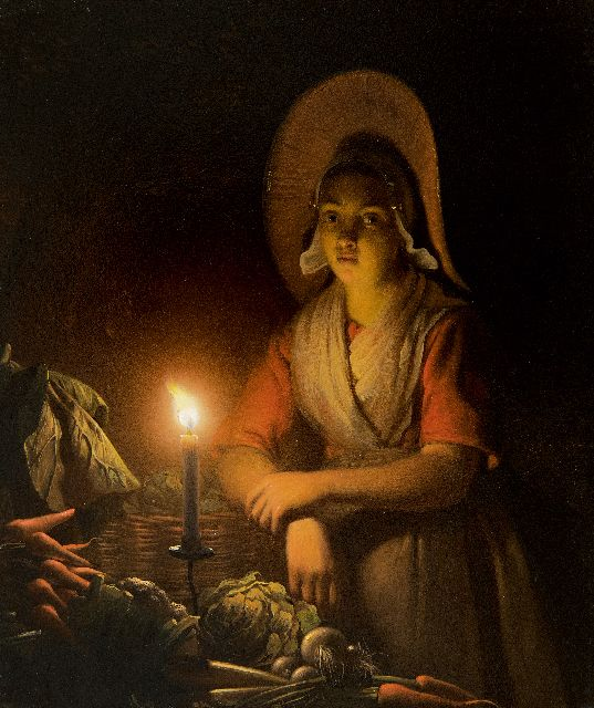 Petrus van Schendel | Vegetable seller by candle light, oil on panel, 19.4 x 16.5 cm, signed u.r. and on the reverse and dated u.r. and on the reverse 1842