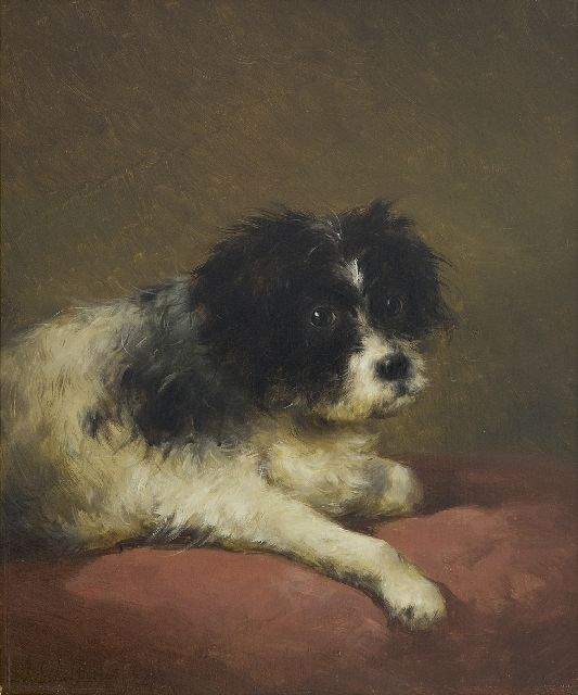 Andreas Schelfhout | A portrait of a dog lying on a red cushion, oil on panel, 32.1 x 27.3 cm, signed l.l. and dated '47