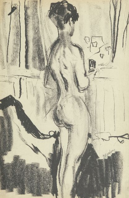 George Martens | Nude, seen from the back, in the artist's studio, black chalk on paper, 48.0 x 32.5 cm, signed r.c. and painted ca. 1931