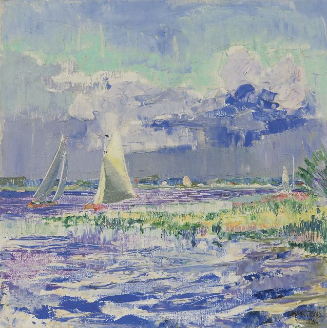 Martens G.G.  | Sailing on the Paterswoldsemeer, Groningen, oil on canvas 40.5 x 40.4 cm, signed l.r. and dated '28