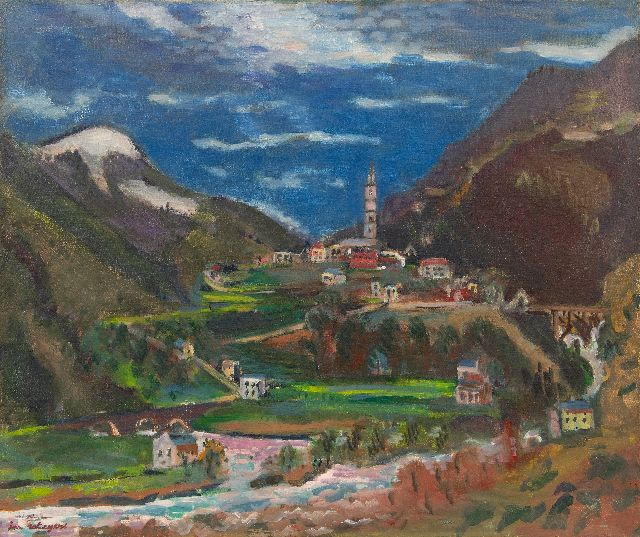 Jan Wiegers | A view of Tegna, Ticino, Switzerland, oil on canvas, 61.5 x 73.4 cm, signed l.l. and painted ca. 1949