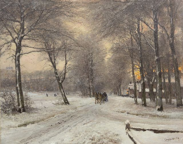 Louis Apol | A snowy forest with a sledge and skaters, oil on canvas, 64.0 x 80.2 cm, signed l.r.