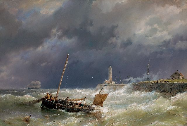 Hermanus Koekkoek | Gathering the nets on a stormy sea, oil on canvas, 67.4 x 100.7 cm, signed l.l.