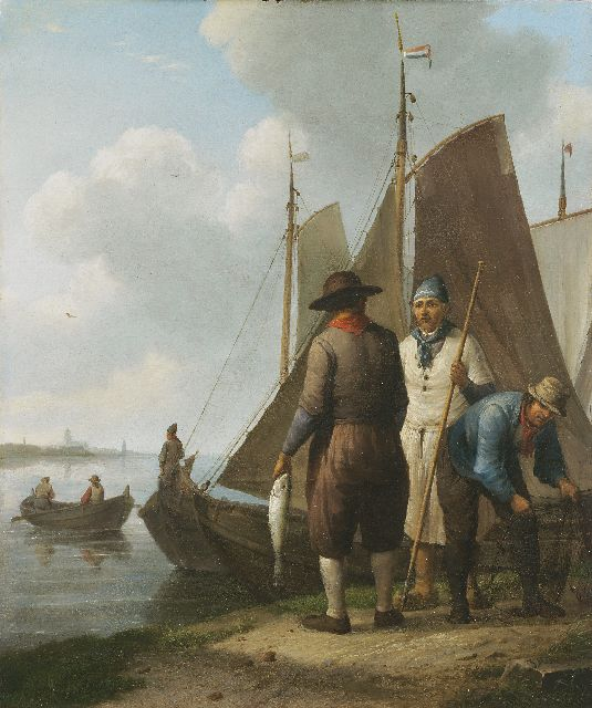 Johannes Hermanus Koekkoek | Fishermen with their catch, oil on panel, 36.4 x 30.6 cm, signed l.r. and painted ca. 1834