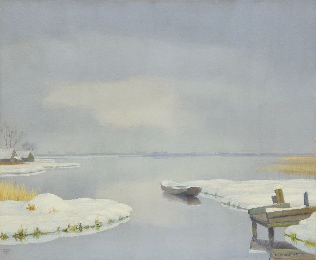 Dirk Smorenberg | A winter water landscape near Loosdrecht, oil on canvas, 50.2 x 60.5 cm, signed l.r.